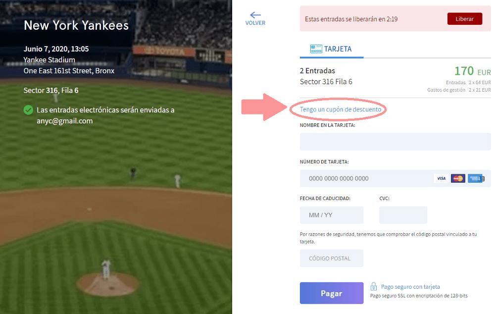 Descuento entradas  baseball Nueva York