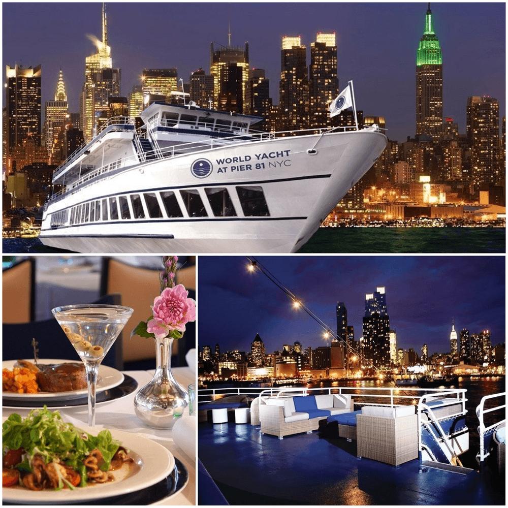 cena crucero por el río Hudson